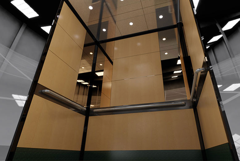 Interior Elevator Cab with Handrails and Wall Pads