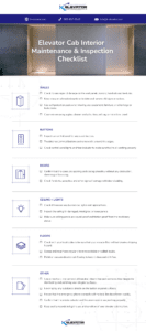 Elevator Cab Interior Maintenance and Inspection Checklist